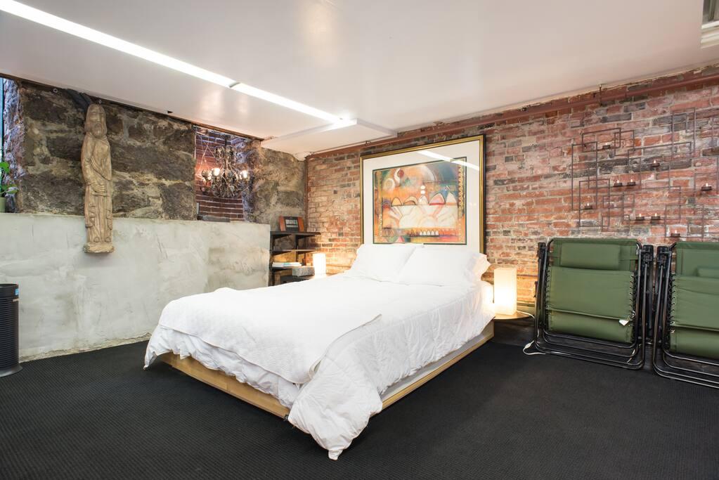 The Queen Bed is memory & firm foam near East 'Window Wells'