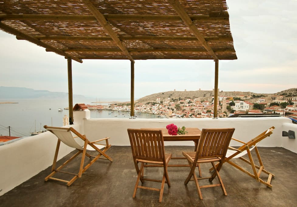 the terrace overlooking the port/sea