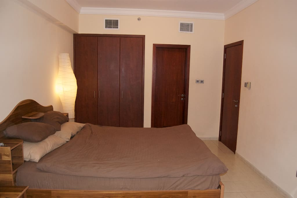 large room, with king size bed and in suite bathroom