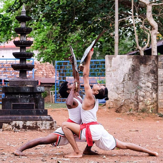 Martial arts practice at the site