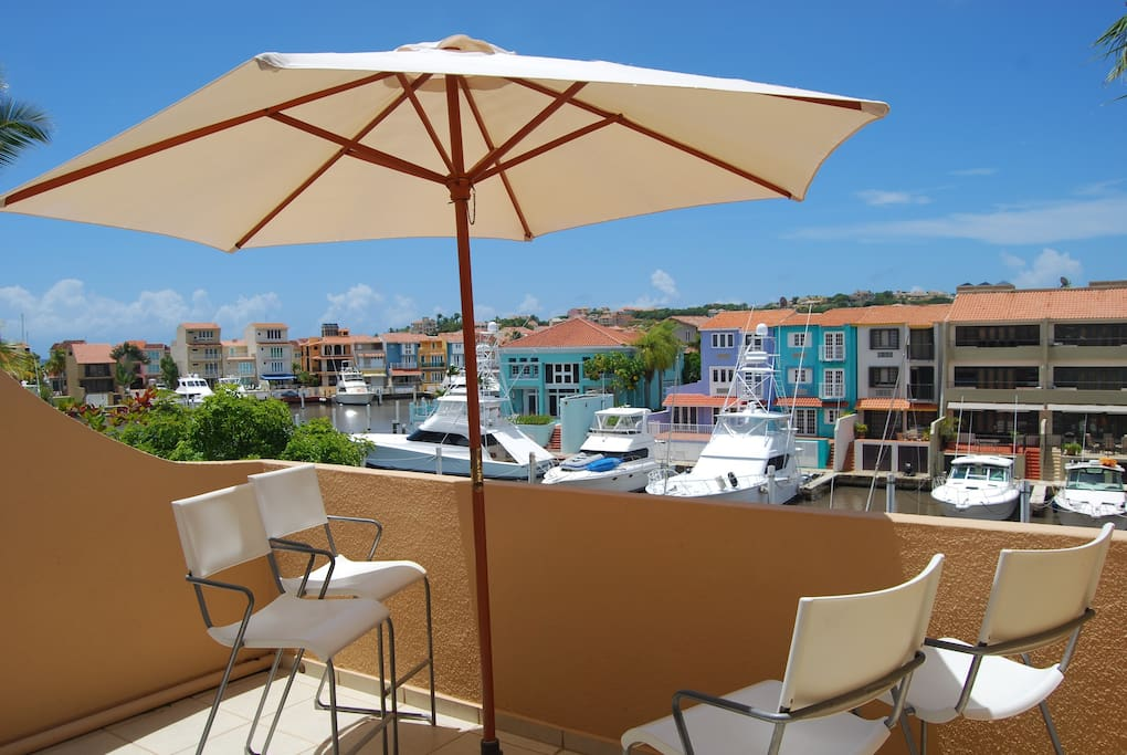 300 Sqft Balcony with view of marina and Yachts.