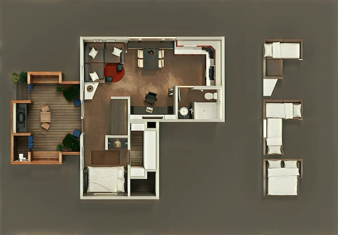 A birds-eye view of the interior with extra sofa bed conversion options