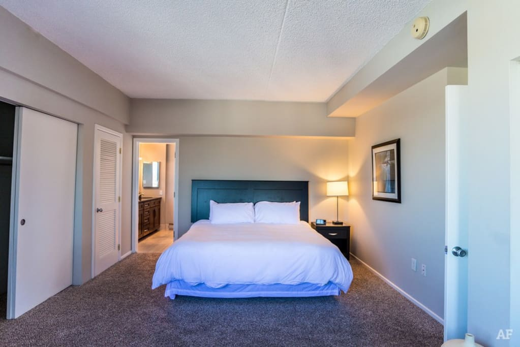 Your master bedroom includes a queen size bed, a day bed, and a roll away twin - mattresses are all memory foam for a great night's sleep.