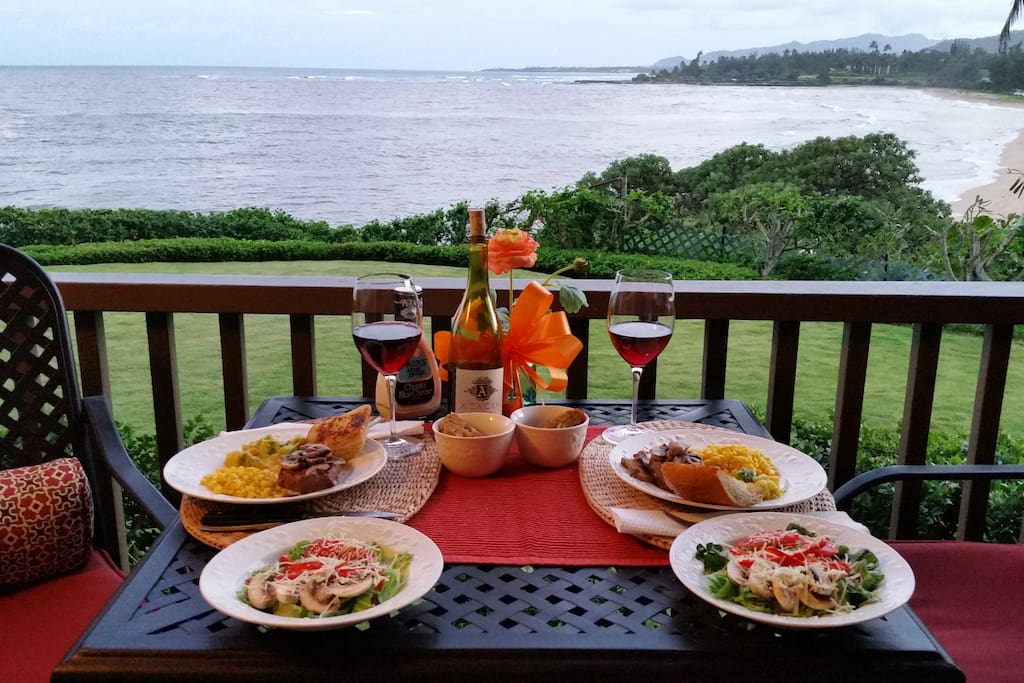 Contributed by D&S Gold----A birthday dinner on the lanai..it does not get any better than this!!!