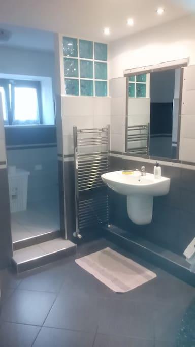 Bagno con doccia e vasca idromassaggio