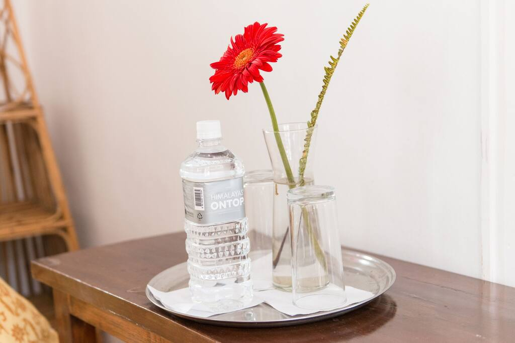 Flower vase and drinking water