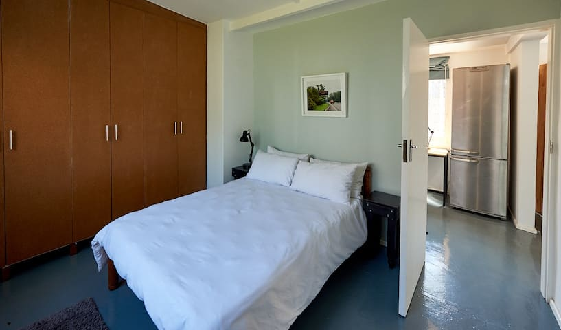 Bedroom with double bed and air conditioning (lots of cupboard space)