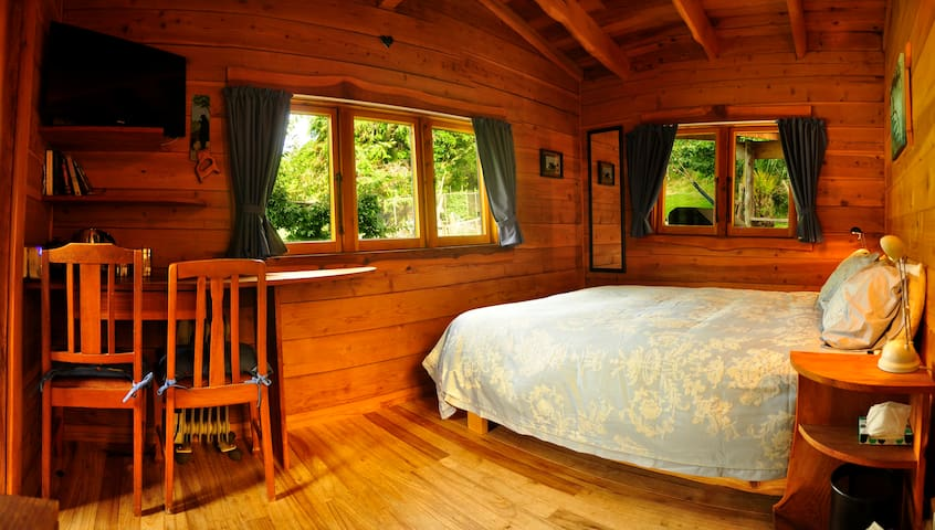 Comfy double bed with writing desk