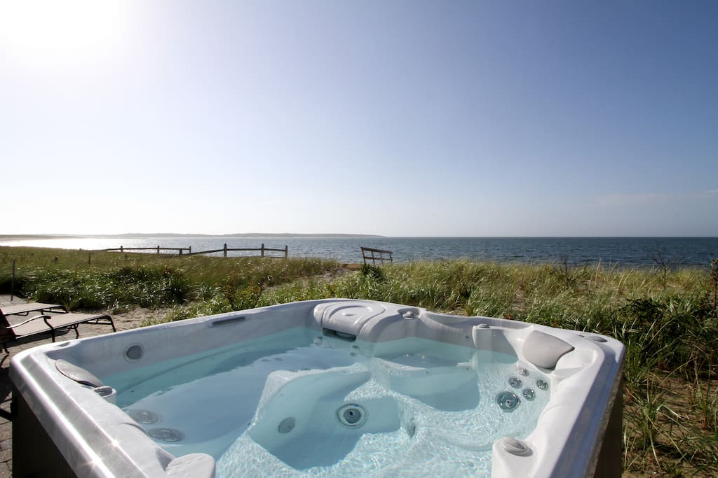 An amazing view of Nantucket Sound from the hot tub. Please note: jacuzzi and outdoor furniture are seasonal, May 1 through October 31.