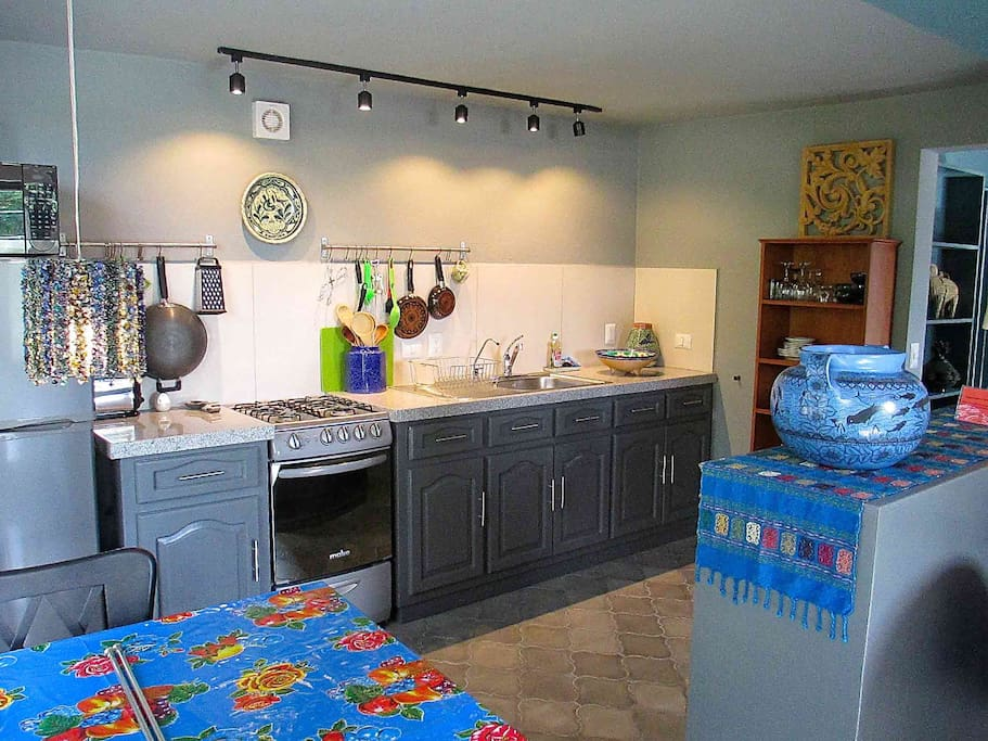 Galley kitchen with lots of counter space.