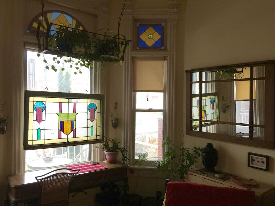 Original Stained Glass in front window (purchased from Honest Ed's prior to the Icon closing- a part of history): strategically placed to allow for light and Total Privacy.