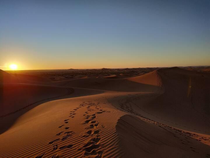 bivouac au pied des grandes dunes de Chegaga Maroc