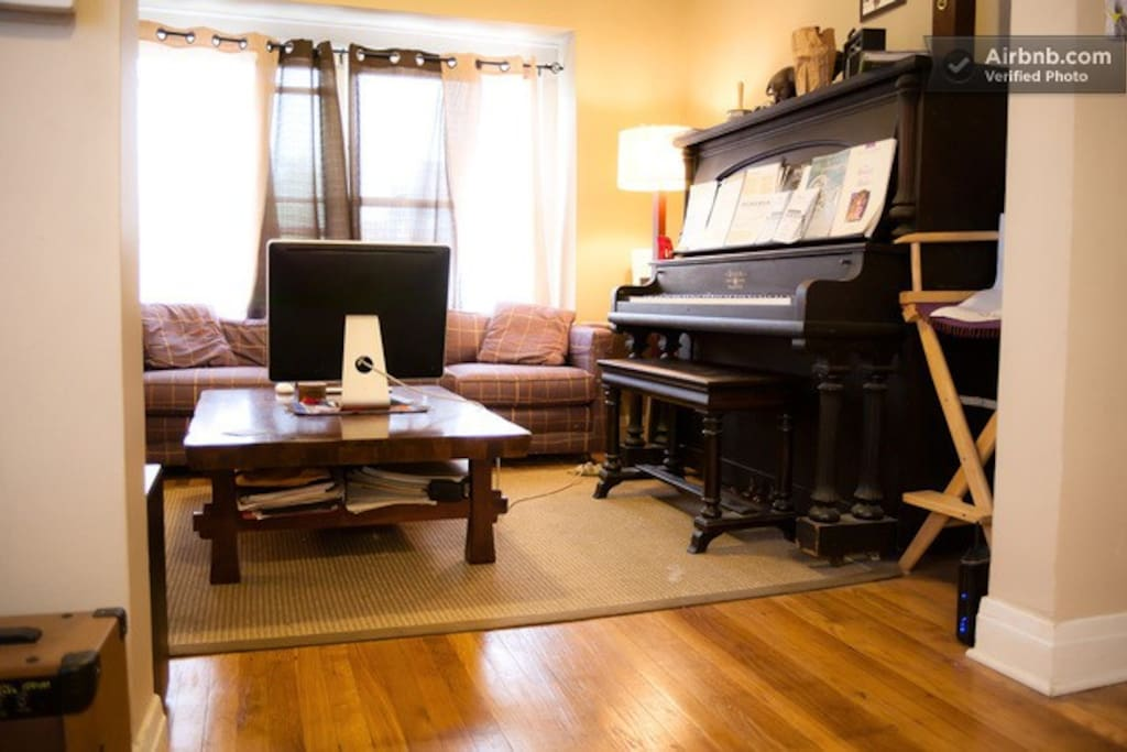 Piano and computer both for use by guests