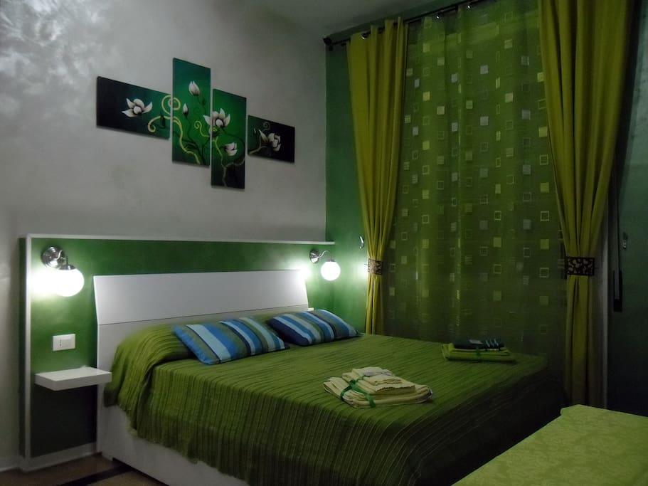Green Room - 18 mq - A/C - Free Wi-Fi - Mini Fridge - Tea Facilities - Led TV