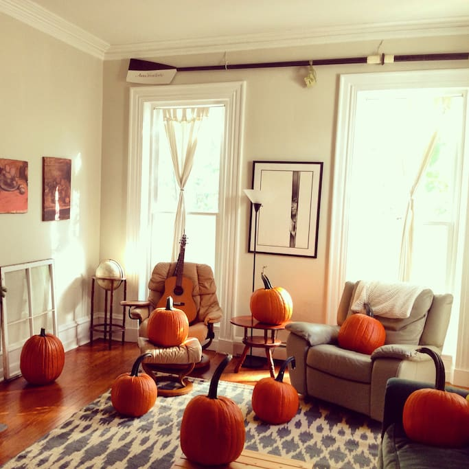 Your first step will be into our beautiful sunlit 200sq ft living room. (Pumpkins are seasonal!)