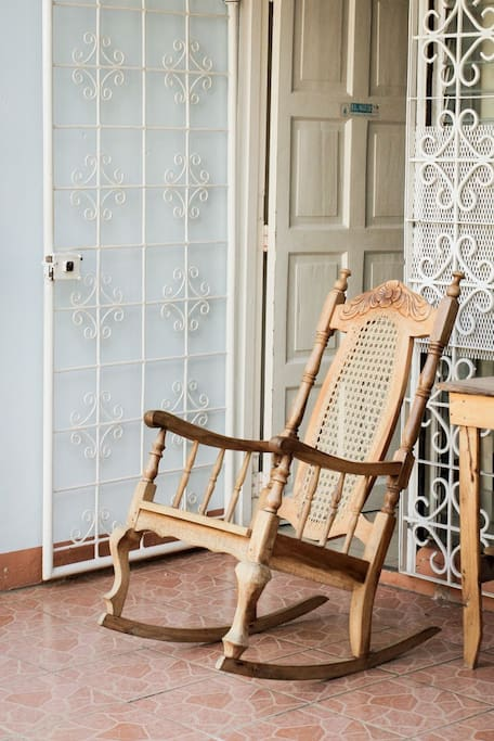 Rocking chair on the front side patio