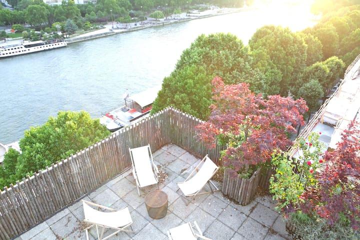 By Seine, Marais, 130 m2 + Terrasse