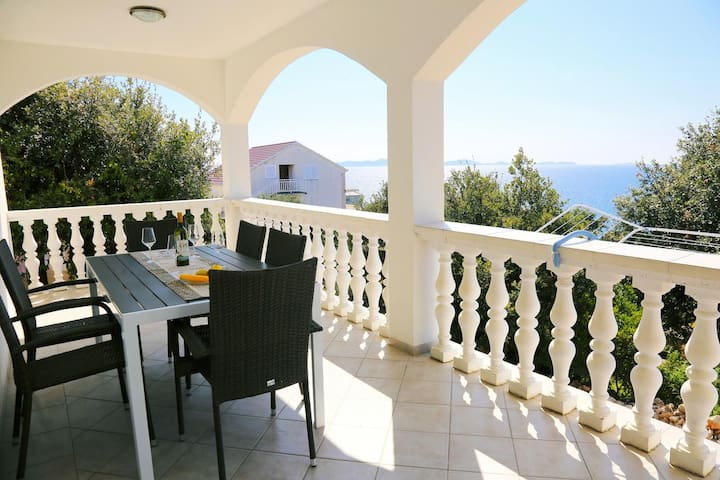 Appartement de trois chambres avec la terrasse et la vue sur le mer Zavalatica (Korcula) (A-4459-a)