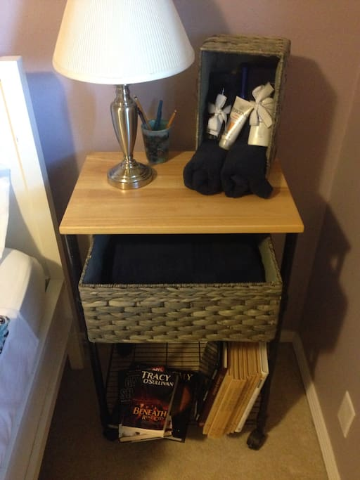 Towels and bathroom essentials, books and pens