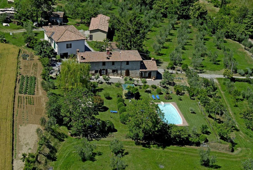 La foto panoramica della struttura e del giardino.