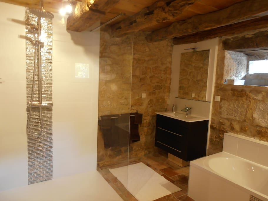 Ensuite bathroom with walk-in shower and full size bath