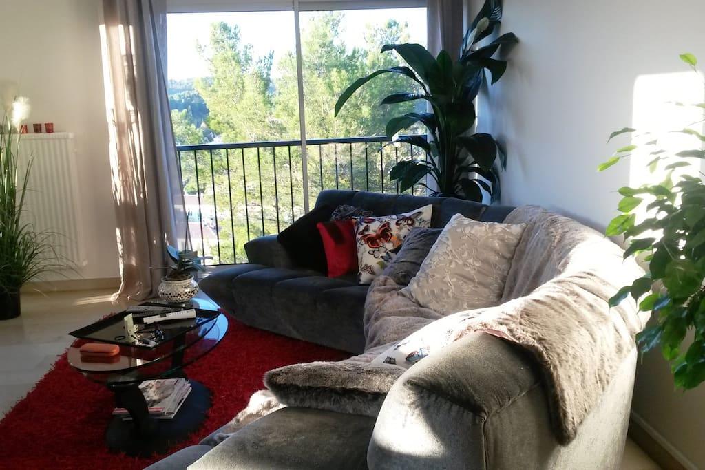 salon design très lumineux vue campagne et soleil couchant donnant sur un patio