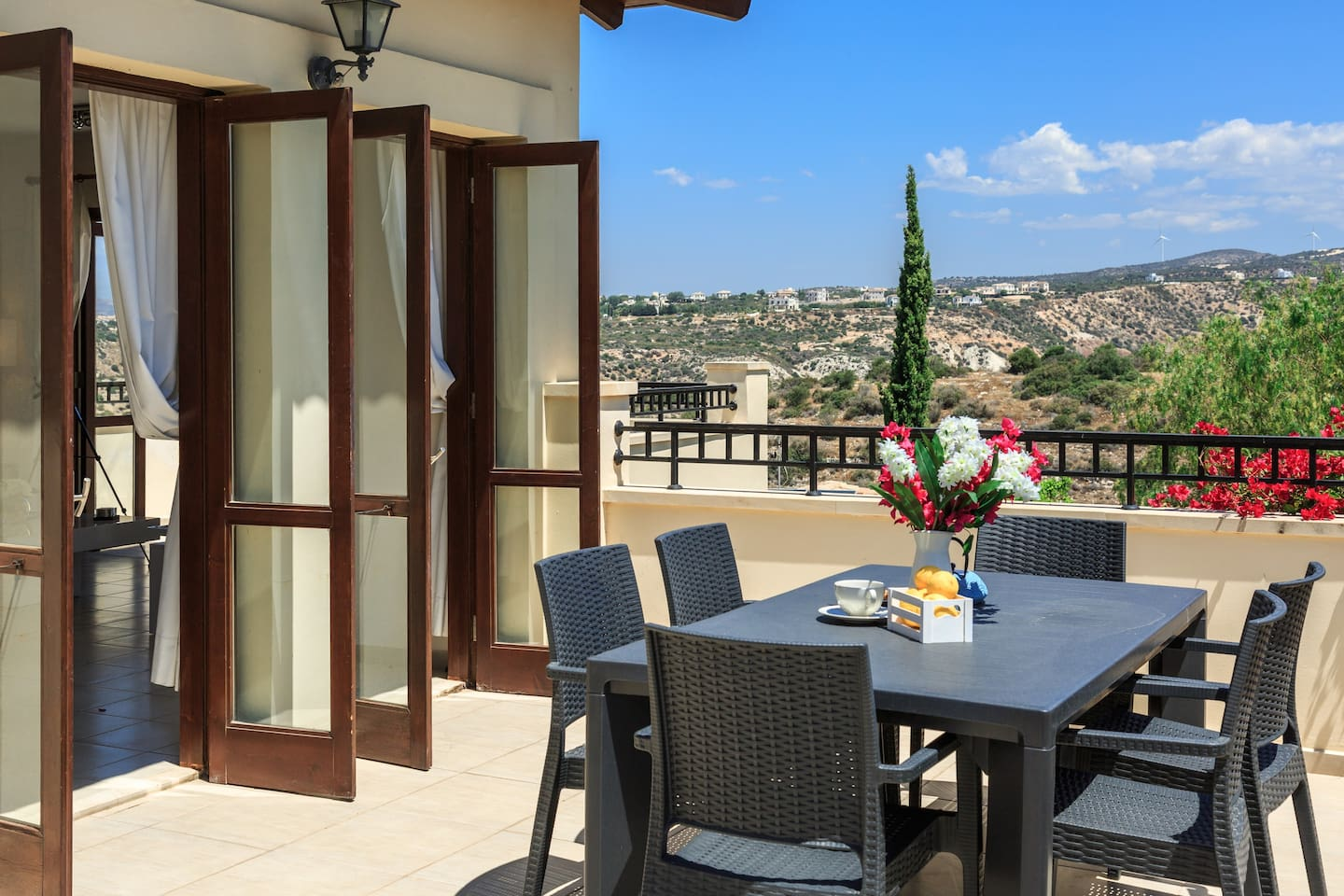 Relax, eat al fresco or have a sundowner and enjoy the gorgeous views of the Troodos Mountains