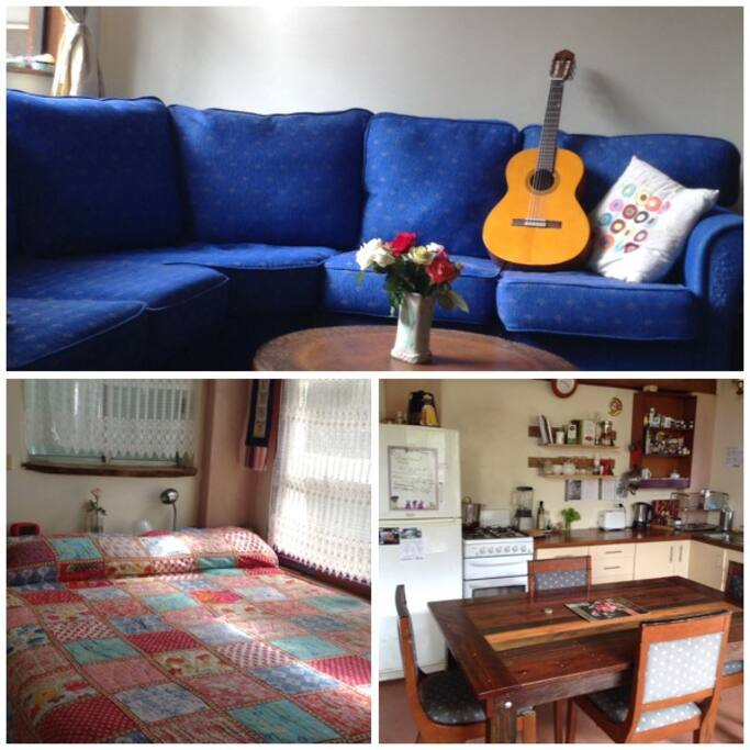 Welcoming big sofa, lovely country kitchen and cosy bedroom suits couple