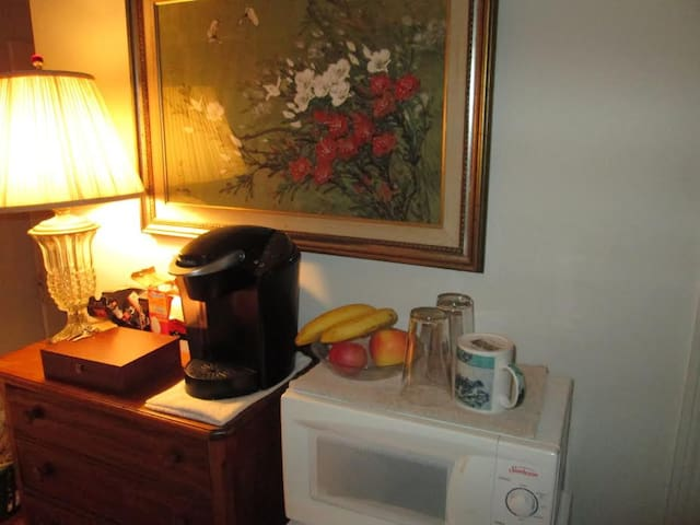 Coffee and tea, microwave, fridge.