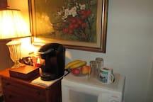 Coffee and tea, microwave, fridge.