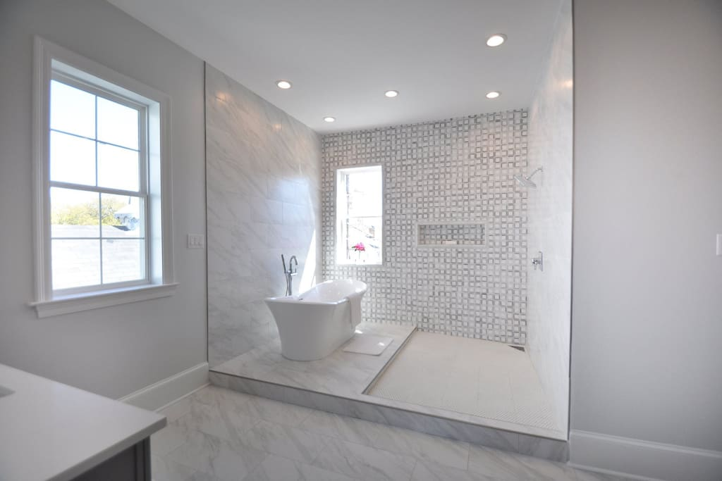 Master Bathroom the size of a bedroom with Bluetooth speaker system