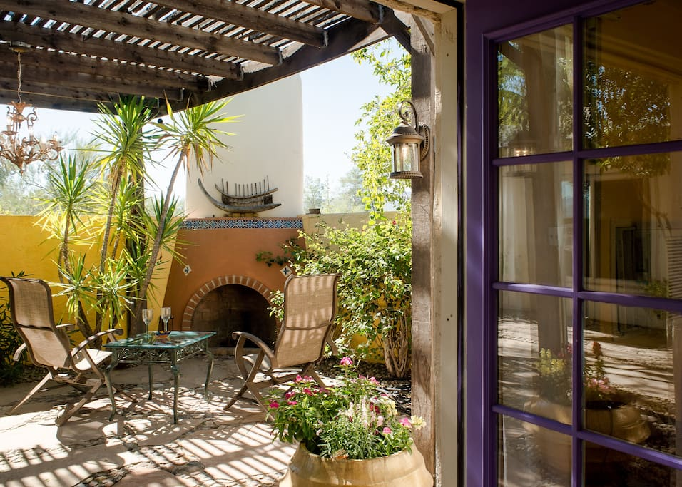 Looking from the casita to the private patio.