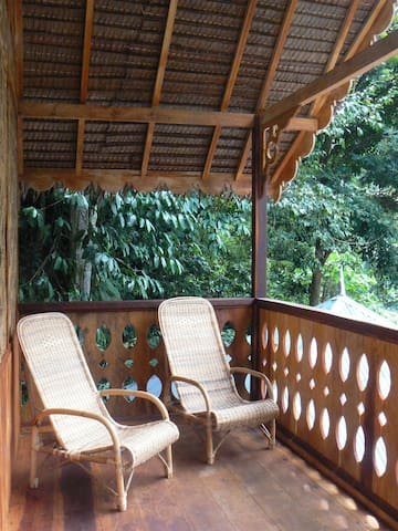 relaxa chairs on treetop chalet balcony