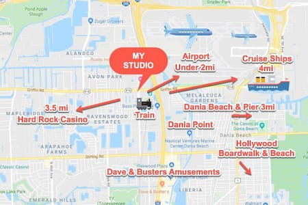 Clean Studio 1 mi-Airport, 2 mi-Casino, 2 mi-Beach