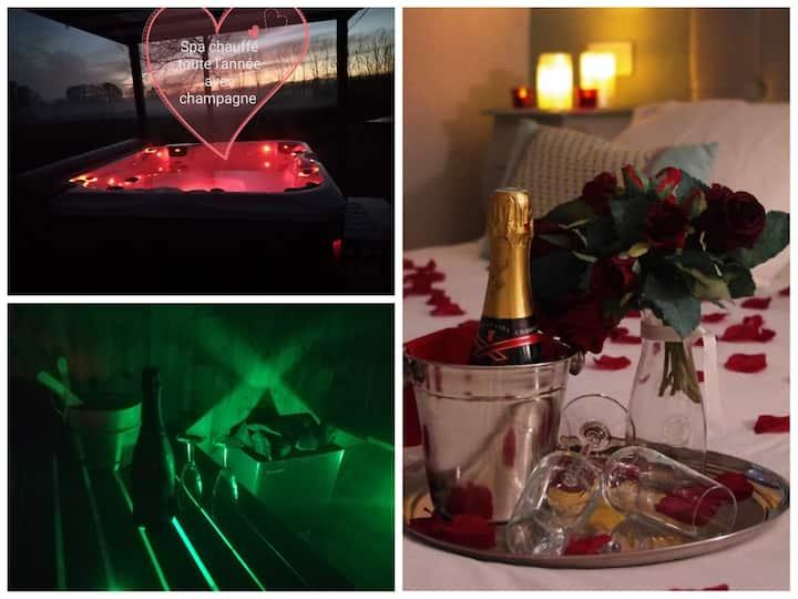 Nuit romantique jacuzzi /sauna/rose/Champagne