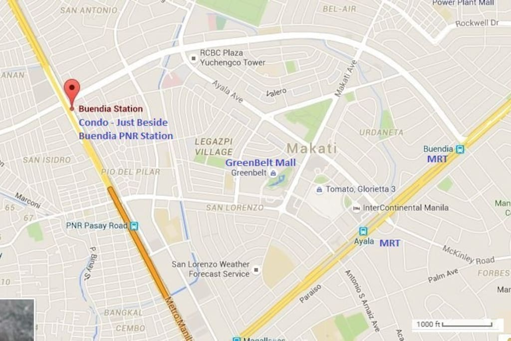 The location of the condo and other important places in Makati