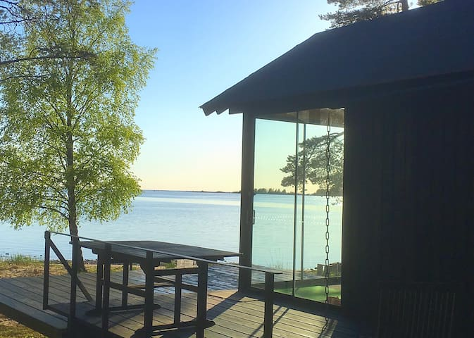 Nice cottage with own beach, wooden, big Sauna!