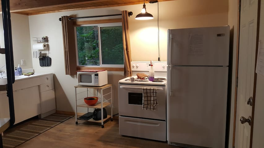 One view of the kitchen; spacious!