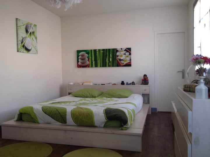 Suite de 25 m2 claire+bains et wc privés