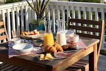 Order continental style breakfast on the sun deck