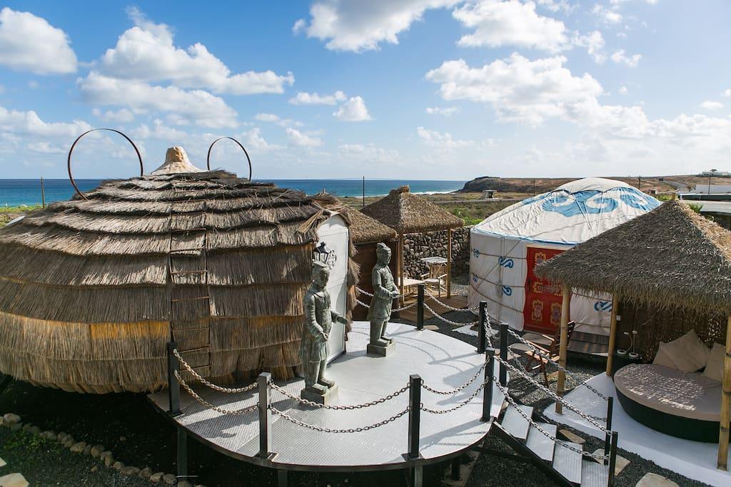 Eco Beach Yurt, palm pod and yurt