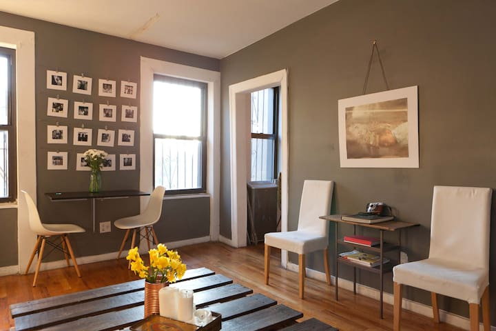 I like photography so there are three main pieces in the apartment, a photo wall of friends, a photo of a brilliant young photographer who does amazing self portraits and a contemporary photographers work in the hall I really like.