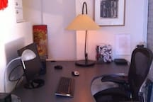 """""""L"""" shaped desk, office chair that guests love.  Privacy and quiet along with your own private entrance to your suite!  Read reviews..."""
