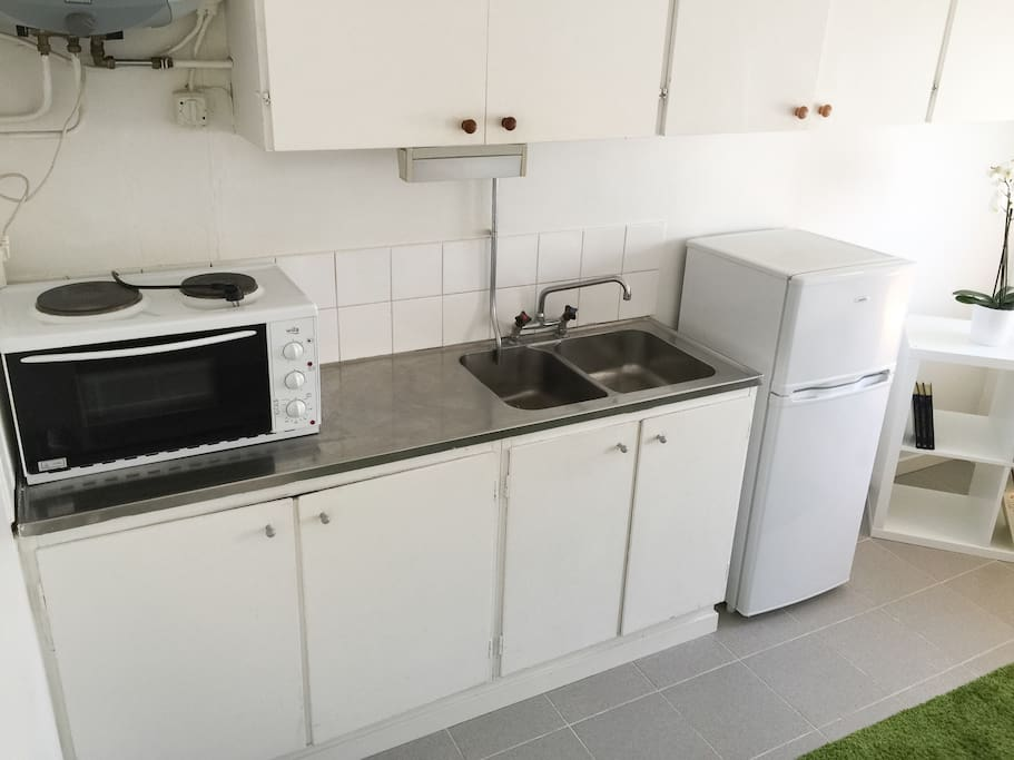 Kitchenette with fridge and small freezer.