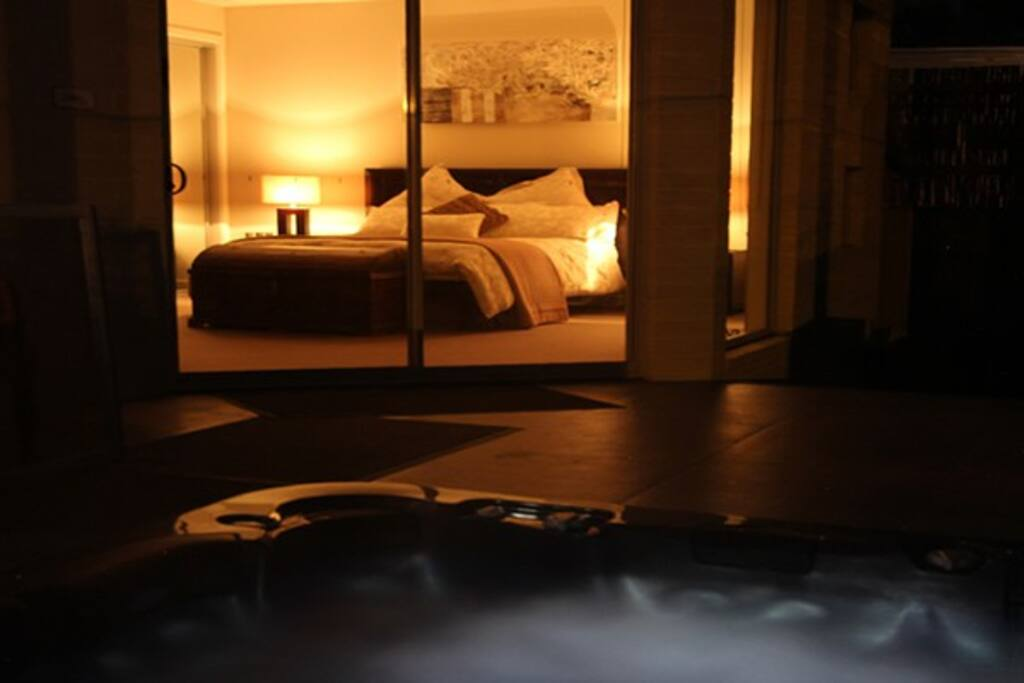 View of the Seaview Suite from the spa at night