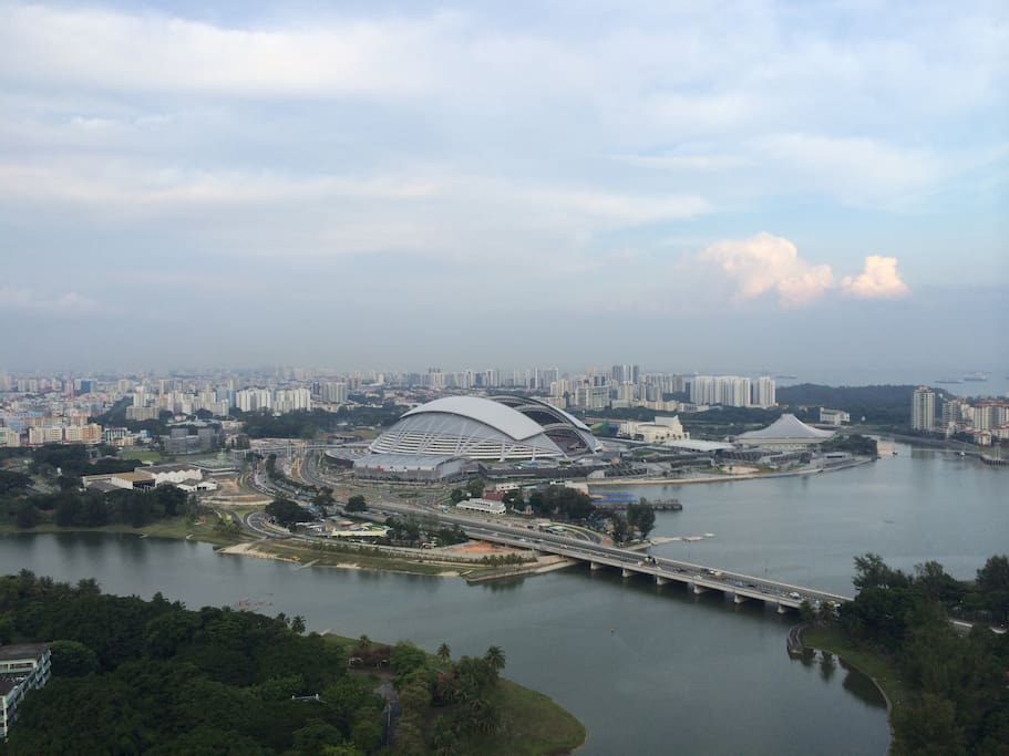 View of the new stadium and the bay from the apartment