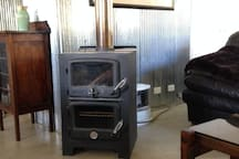 Wood burning heater with oven.  Gas heater also