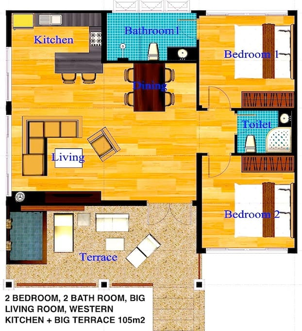 Floor Plan 2 Bed Room House 105m2
