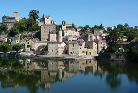 """A spacious light and airy Gite adjoining Maison Delmas,  our 18th century period house which we run as a B & B.  Situated in the heart of the historic """"Medieval Cite"""" of Puy L' Eveque alongside the river Lot."""
