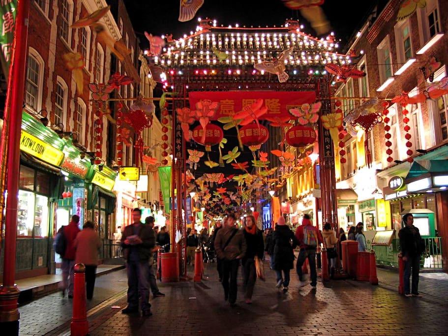 Buzzing London Chinatown (about 1min walk)